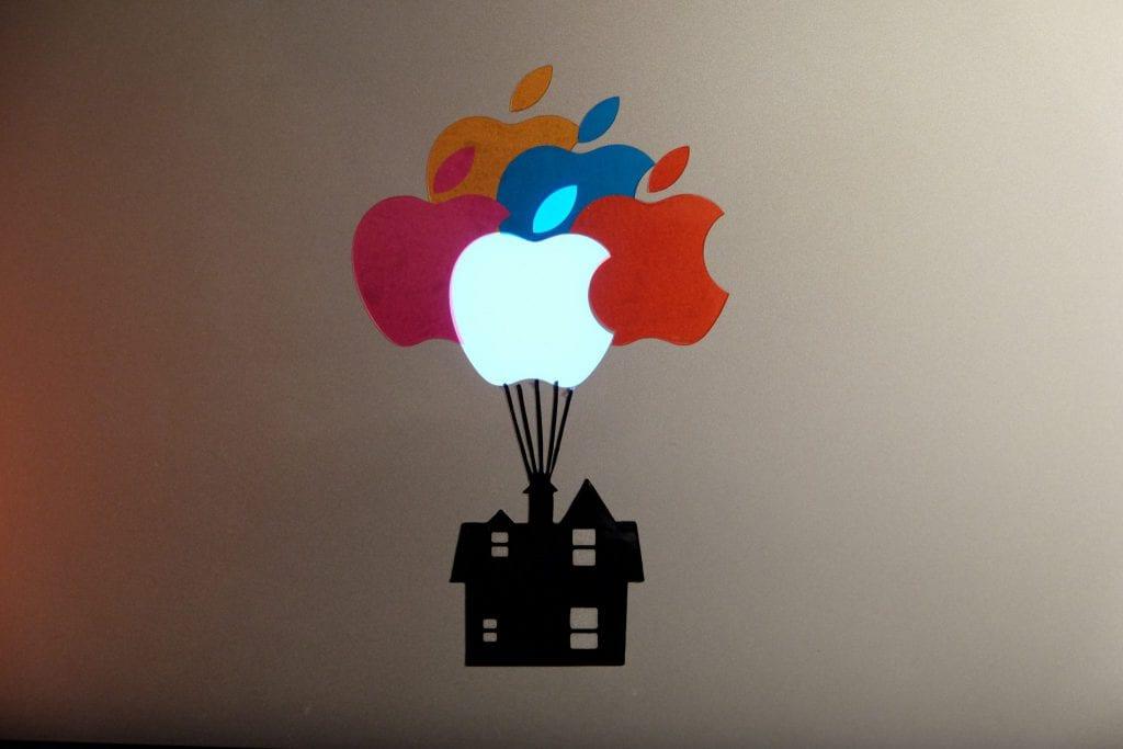huset, balloner, mac, stickers, sticker, klistermærke