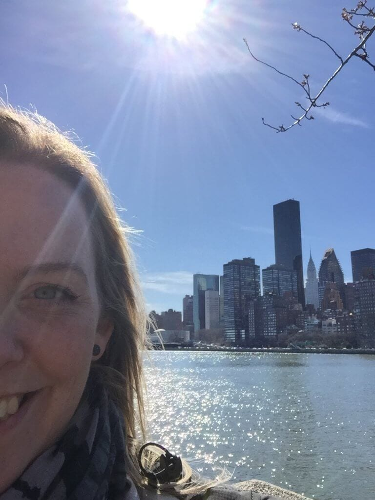 New York, Rosevelt Island, Selfie, blå himmel, blue sky, vanvittigt
